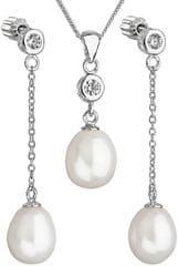 Evolution Group Strieborná perlová sada so zirkónmi Pavona 29005.1 AAA biela (náušnice, retiazka, prívesok) striebro 925/1000