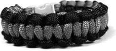Cordell Paracord náramok Solomon Čierna-Sivá s reflexnými nitkami