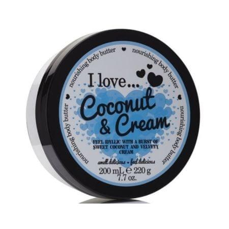 I Love Cosmetics Tápláló hatású testápoló vaj kókusz és krém illattal (Coconut & Cream Nourishing Body Butter) 200 ml