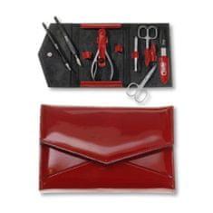 Credo Solingen Luksusowy 7-częściowy czerwony manicure w etui ze sztucznej skóry Ognia 7