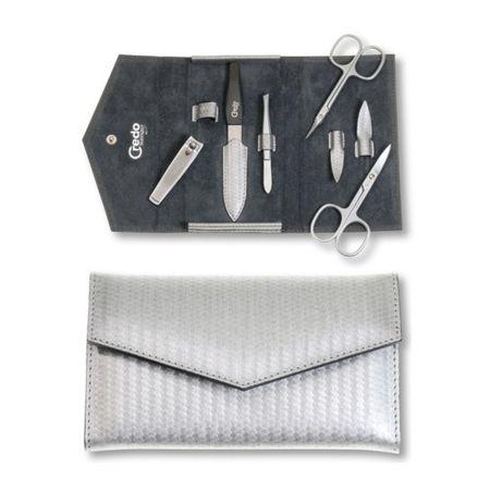 Credo Solingen Luksusowy 5 jednoczęściowy manicure Carbon srebra obudowy 5