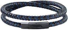 Morellato Moška modro-črna usnjena zapestnica Moody SQH16