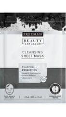 Freeman Čisticí látková maska Aktivní uhlí a probiotika Beauty Infusion (Cleansing Sheet Mask) 25 ml