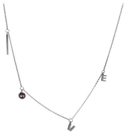 JwL Luxury Pearls Strieborný náhrdelník Love s pravou perlou JL0339 striebro 925/1000