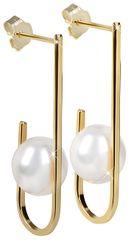 JwL Luxury Pearls Aranyozott fülbevaló fehér igazgyönggyel JL0350 ezüst 925/1000
