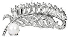 JwL Luxury Pearls Překrásná brož s pravou bílou perlou a krystaly JL0358