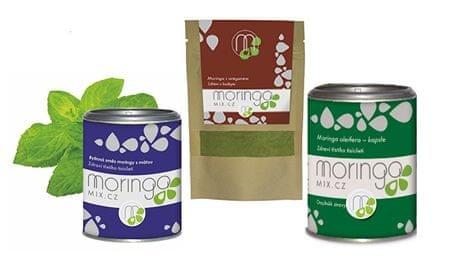 Moringa MIX Bylinná směs moringy s mátou 100 g + Moringa s oregánem 30 g + Moringa oleifera 180 kapslí