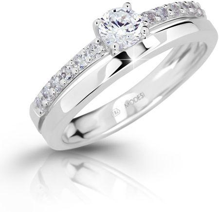 Modesi Staje się pierścień z cyrkonem M11102 (obwód 50 mm) srebro 925/1000