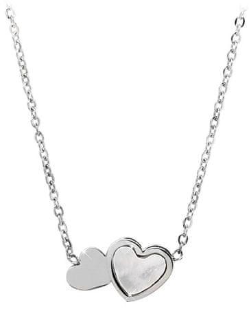 Troli Oceľový náhrdelník s perleťovým srdiečkom
