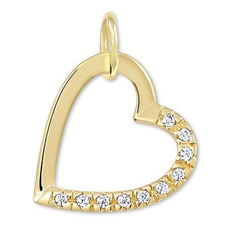 ff75221e4 Zlatý prívesok srdce s kryštálmi 249 001 00494 - 0,55 g žlté zlato 585 ...