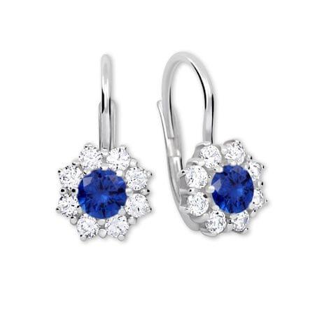 Brilio Silver Ezüst fülbevaló kristályokkal 36 001 00322 04 - kék- 2,13 g ezüst 925/1000