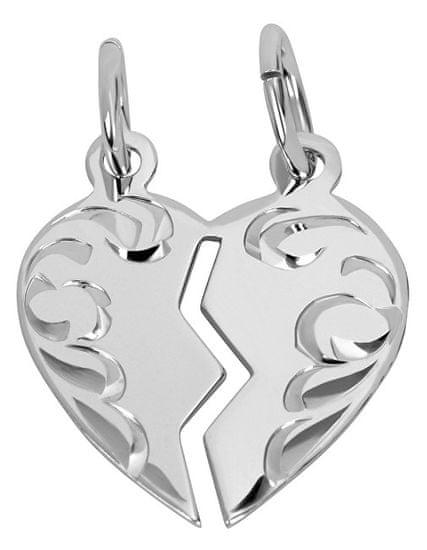 Brilio Silver Partnerský šperk - Strieborný prívesok pre páry 441 001 01480 04 striebro 925/1000