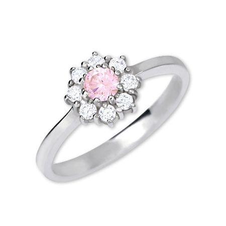 Brilio Silver Ezüst eljegyzési gyűrű 426 001 00432 04 - rózsaszín (áramkör 52 mm) ezüst 925/1000