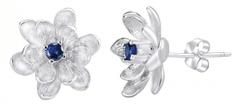 Silvego Kolczyki z syntetycznego szafiru Květinky SHZE968 srebro 925/1000