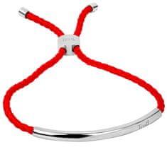 Troli Červený šnúrkový náramok s oceľovou ozdobou
