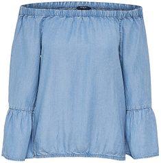 ONLY Koszulka damska Sandy Shoulder Dnm Top Light Blue Denim