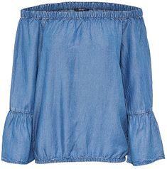 ONLY Damski T-shirt Sandy Off Shoulder Dnm Top Medium Blue Denim