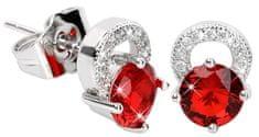 Troli Prekrásne trblietavé náušnice s červenými kryštálmi