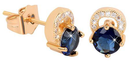 Troli Aranyozott csillogó fülbevaló kék kristállyal