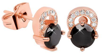 Troli Roza pozlačeni svetleči uhani s črnimi kristali