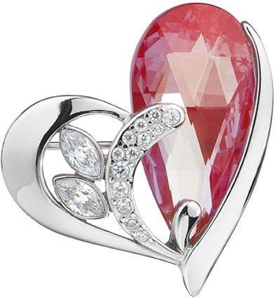 Preciosa Strieborná brošňa Wild Heart Siam 6648 63 striebro 925/1000