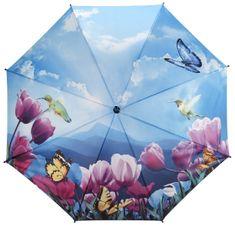 Blooming Brollies Dámský holový vystřelovací deštník Tulips sonata walking stick style