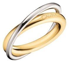 Calvin Klein Dvobarvni jekleni prstan Double KJ8XJR2001