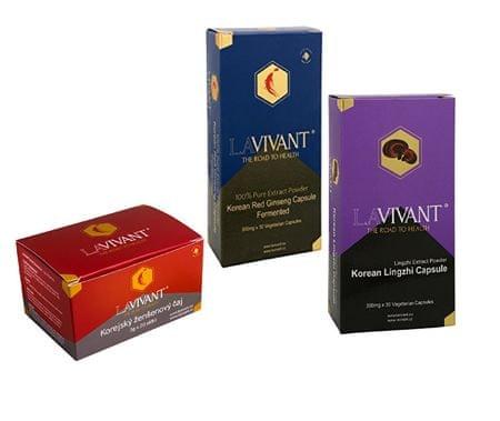 Lavivant Vegetarian Royal Gold 30 kapslí + Korean Lingzhi 30 kapslí + LAVIVANT Instantní čaj z korej