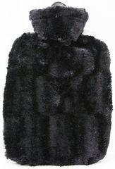 Hugo Frosch Termofor Classic s obalom z umelej kožušiny - čierny s podšívkou