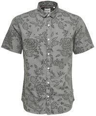 ONLY&SONS Koszula męska Trop Ss Flower Aop Denim Shirt Grey Pinstripe