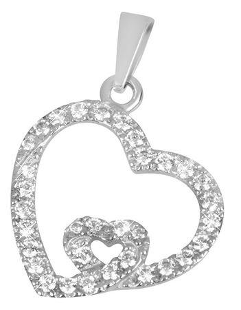 2b03d333f Zlatý prívesok srdce s kryštálmi 249 001 00468 07 - 0,95 g biele zlato ...