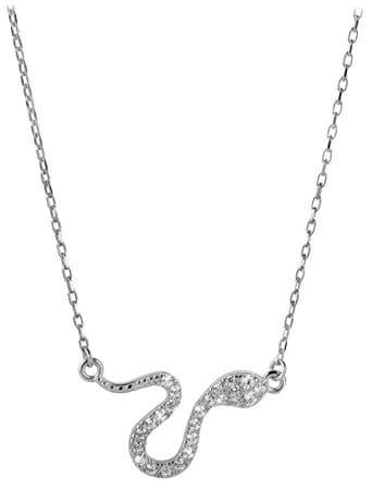 Brilio Zlatý náhrdelník Had s krystaly 279 001 00080 07 - 2,80 g zlato bílé 585/1000