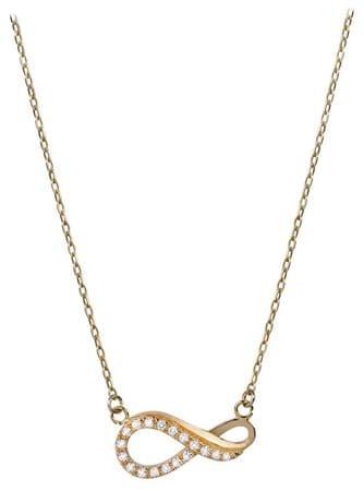 Brilio Zlata ogrlica Infinity s kristali 279 001 00087 rumeno zlato 585/1000