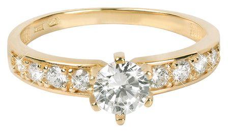 f6c5e6d8f Zlatý prsteň s kryštálmi 229 001 00761 (Obvod 55 mm) žlté zlato 585/ ...