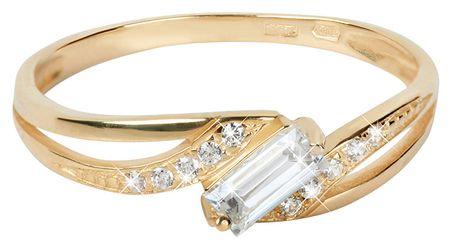fdc3963d5 Zlatý prsteň s čírymi kryštálmi 229 001 00544 (Obvod 52 mm) žlté zlato 585  ...