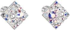 Evolution Group Kwadratowe kolczyki z kryształkami 31169,9 kryształ AB srebro 925/1000