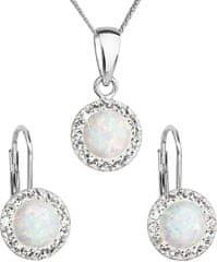 Evolution Group Třpytivá souprava šperků 39160.1 & white s.opal (náušnice, řetízek, přívěsek) stříbro 925/1000