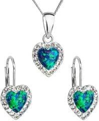 Evolution Group Srdíčková souprava šperků 39161.1 & green s.opal (náušnice, řetízek, přívěsek) stříbro 925/1000