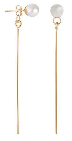 Troli Stal długo platerowana złotem Kolczyki z perłami