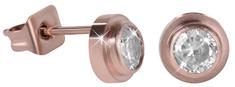 Troli Bronzové oceľové náušnice kôstky s kryštálom