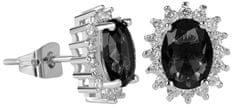 Troli Błyszczące Kolczyki z czarnymi kryształami