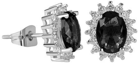 Troli Csillogó fülbevalók fekete kristályokkal