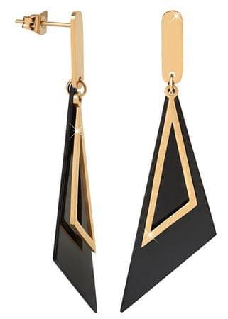 Troli Kiváló fekete és arany háromszög fülbevaló
