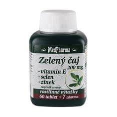 MedPharma Zelený čaj 200 mg + vitamín E + selen + zinek 60 tbl. + 7 tbl. ZDARMA