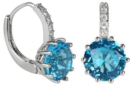 Troli Svetleči uhani z modrim kristalom