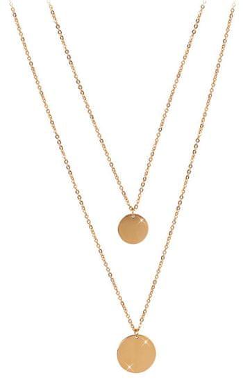 Troli Dvojitý náhrdelník s kruhovými príveskami z pozlátenej ocele
