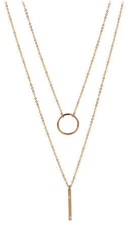 Troli Dvojna ogrlica z elegantnimi obeski iz pozlačenega jekla