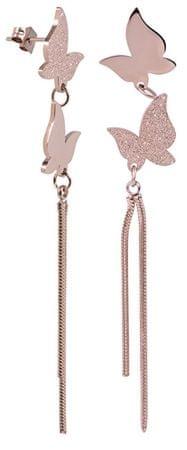 Troli Hosszú bronz pillangó fülbevaló acélból