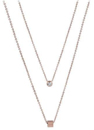 Troli Dupla nyaklánc rózsaszín aranyozott acélból