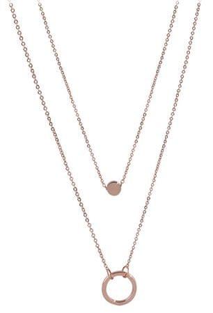 Troli Dupla nyaklánc medálgyűrűkkel rózsaszín aranyozott acélból